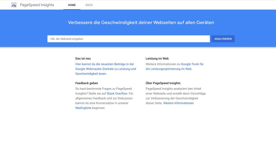 Google PageSpeed-Insights – mit Core Web Vitals Bericht